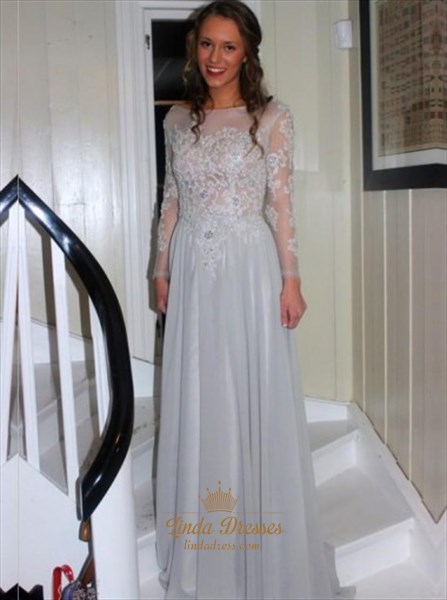 Grey Illusion Sheer Long Sleeve Lace Bodice Prom Dress With Open Back
