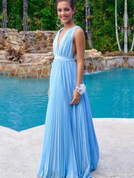 Aqua Blue Deep V-Neck Sleeveless Ruched Chiffon A-Line Long Prom Dress