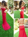 Red Spaghetti Strap Open Back Mermaid Long Evening Dress With Cutouts