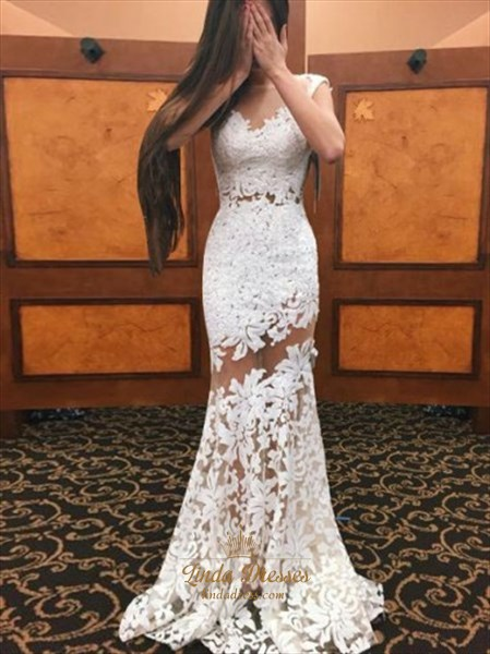 Illusion White Floor-Length Lace Applique Mermaid Cap Sleeve Prom Gown