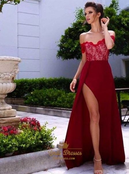 Burgundy Off-The-Shoulder Lace Bodice Chiffon Evening Dress With Split