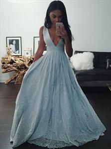Deep V-Neck Sleeveless A-Line Lace Embellished Chiffon Evening Dress