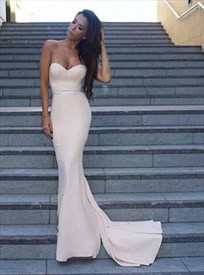 Simple Strapless Sweetheart Floor Length Mermaid Chiffon Evening Dress