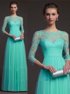 Illusion Turquoise 3/4 Sleeve Lace Bodice Empire Waist Evening Dress
