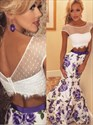 Show details for Two-Piece Cap Sleeve Floral Mermaid Evening Dress With Illusion Bodice