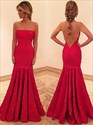 Strapless Ruffled Mermaid Red Lace Long Evening Dress With Open Back
