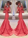 Show details for Coral Off-The-Shoulder Sweetheart Ruffled Mermaid Long Evening Dress