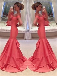 Coral Off-The-Shoulder Sweetheart Ruffled Mermaid Long Evening Dress