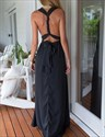 Show details for Navy Blue Sleeveless Backless Cross Front A-Line Prom Dress With Belt