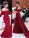 Show details for Elegant Off-The-Shoulder Long Sleeve Mermaid Formal Dress With Train
