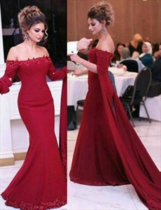 Elegant Off-The-Shoulder Long Sleeve Mermaid Formal Dress With Train