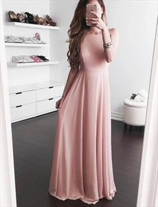 Simple Elegant Blush Pink Sleeveless A-Line Chiffon Long Evening Dress