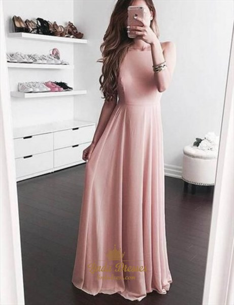 Simple Elegant Blush Pink Sleeveless A Line Chiffon Long Evening Dress Sku Fs2395