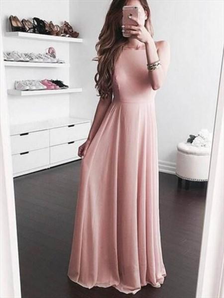 Simple Elegant Blush Pink Sleeveless A-Line Chiffon Long Evening Dress