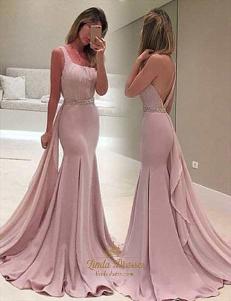 One Shoulder Mermaid Beaded Waist Chiffon Evening Dress With Train