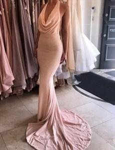 Blush Pink Cowl Neck Halter Floor Length Mermaid Backless Prom Dress