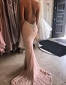 Show details for Blush Pink Cowl Neck Halter Floor Length Mermaid Backless Prom Dress