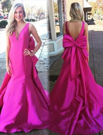 Sleeveless Backless V-Neck Mermaid Prom Dress With Big Bows On Back
