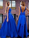 Show details for Royal Blue Sleeveless Backless A-Line Long Evening Dress With Bowknot