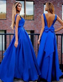 Royal Blue Sleeveless Backless A-Line Long Evening Dress With Bowknot