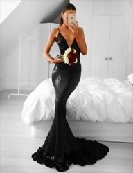 Plunging V-Neck Black Sequin Sleeveless Mermaid Floor-Length Prom Gown