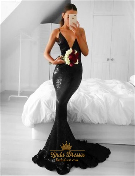 Show details for Plunging V-Neck Black Sequin Sleeveless Mermaid Floor-Length Prom Gown