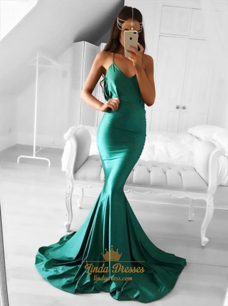 Elegant Emerald Green Spaghetti Strap Mermaid Floor-Length Prom Dress