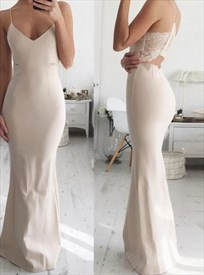 Floor-Length Spaghetti Strap Mermaid Prom Gown With Illusion Lace Back
