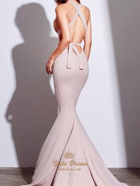 Sleeveless Mermaid Halter Cross Back Sweep Train Prom Dress With Belt