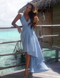 Sleeveless Plunging V-Neck A-Line High-Low Evening Dress With Belt