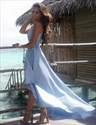 Show details for Sleeveless Plunging V-Neck A-Line High-Low Evening Dress With Belt