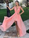Show details for Coral Deep V-Neck Sleeveless Short Sheath Chiffon Overlay Prom Dress
