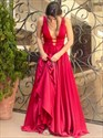Red Deep V-Neck Sleeveless A-Line Long Formal Dress With Open Back
