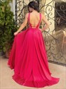 Show details for Red Deep V-Neck Sleeveless A-Line Long Formal Dress With Open Back