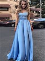 Strapless Empire Waist Lace Bodice A-Line Floor-Length Evening Dress