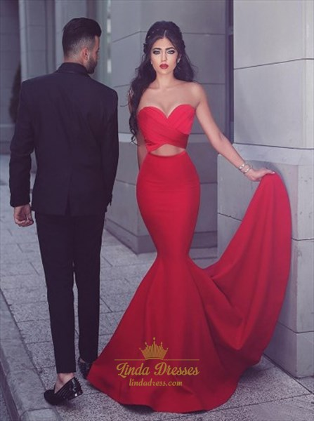 Show details for Trumpet/Mermaid Red Strapless Sweetheart Long Prom Dress With Cutouts