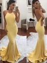 Show details for Yellow Mermaid Spaghetti Strap Halter Floor Length Backless Prom Dress