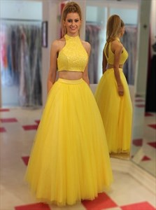 A-Line Two-Piece Sleeveless Lace Bodice Tulle Bottom Long Prom Dress