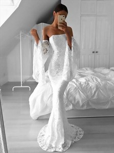 Elegant White Lace Strapless Mermaid Long Prom Dress With Bell Sleeves
