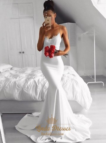 Elegant White Spaghetti Strap Mermaid Chiffon Evening Dress With Lace