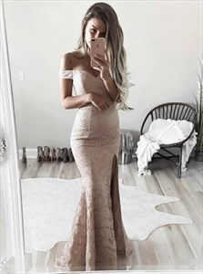 Simple Elegant Off Shoulder Mermaid Lace Prom Dress With Side Split