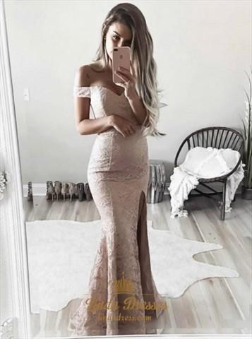 Simple Elegant Off Shoulder Mermaid Lace Prom Dress With Side Split