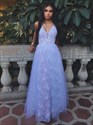 Lavender V-Neck Sleeveless A-Line Tulle Overlay Lace Long Prom Dress