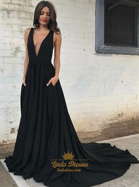 Black Deep V-Neck A-Line Sleeveless Open Back Prom Dress With Train