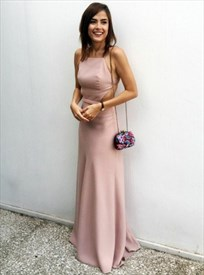 Elegant Peach Spaghetti Strap Floor Length Prom Dress With Open Back