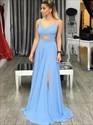 Show details for A-Line Sleeveless Cut Out Waist Chiffon Long Evening Dress With Split
