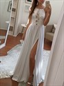 Show details for White A-Line Spaghetti Strap Lace Bodice Chiffon Prom Dress With Slit