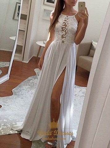 White A-Line Spaghetti Strap Lace Bodice Chiffon Prom Dress With Slit