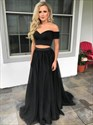 Show details for Black Two-Piece Off Shoulder Sweetheart A-Line Floor Length Prom Dress