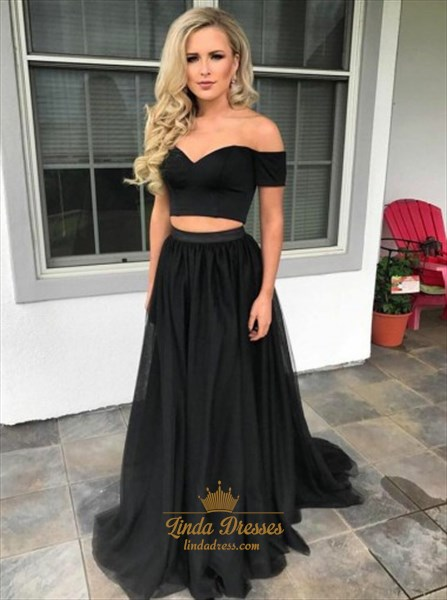 Black Two-Piece Off Shoulder Sweetheart A-Line Floor Length Prom Dress